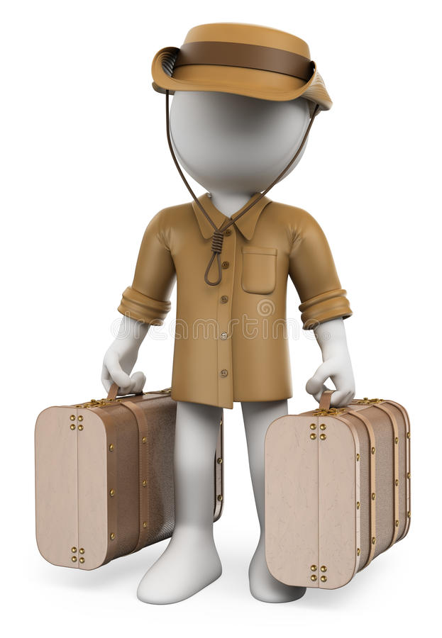 Download 3D White People. Vintage Traveler With Two Suitcases Stock Illustration - Image: 41325365