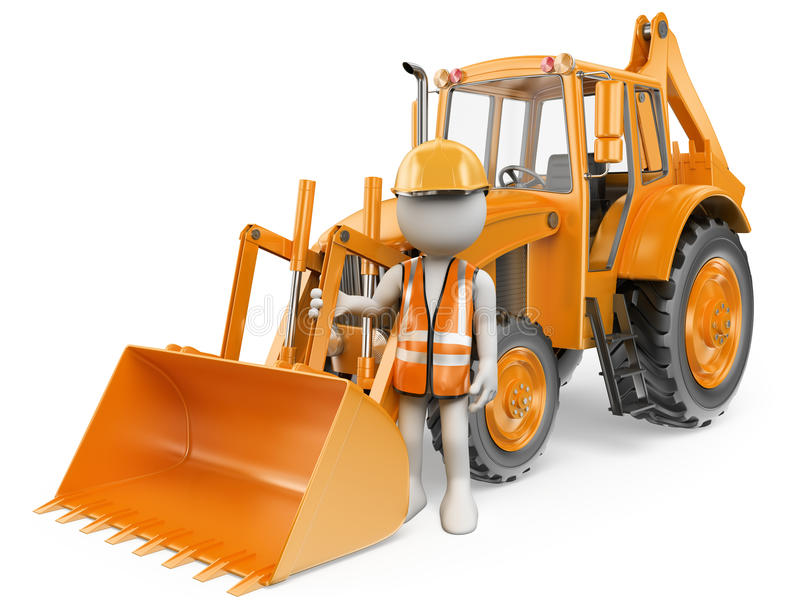 3D white people. Worker with a backhoe loader. Digger. White background stock illustration