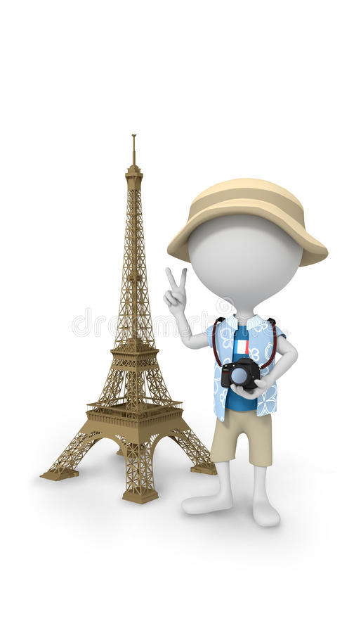 3D white peoples - selfie the Eiffel Tower royalty free illustration