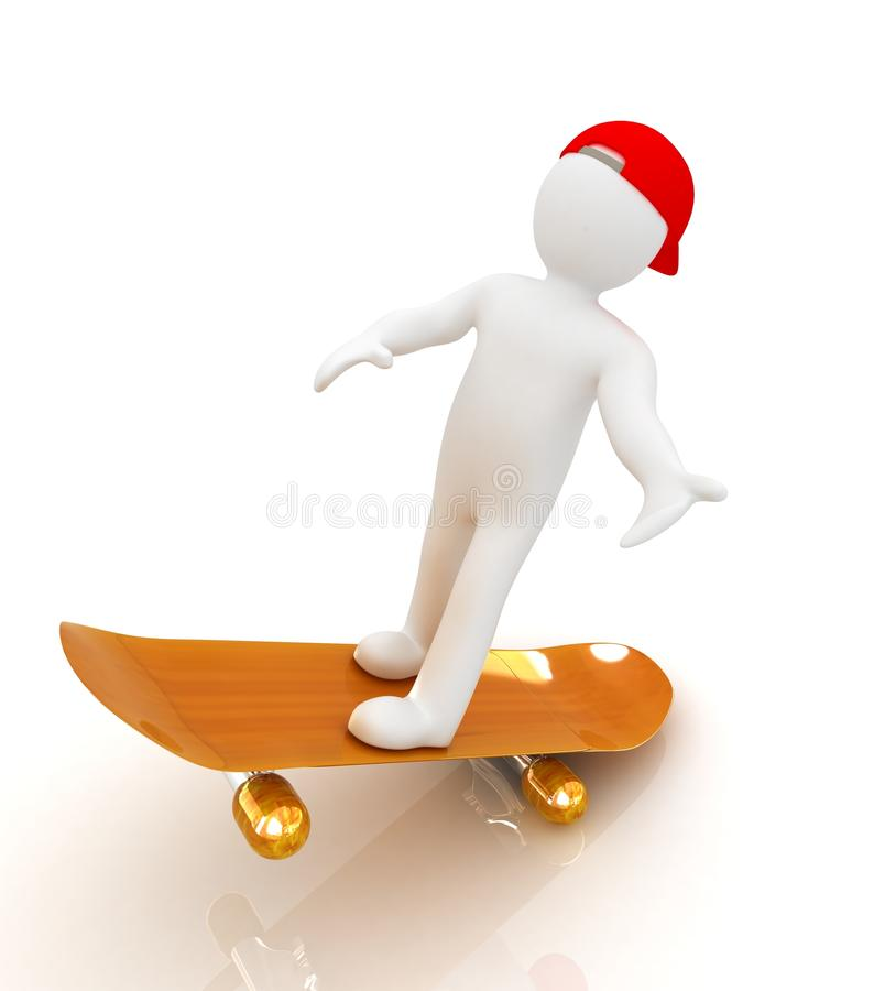 3d white person with a skate and a cap royalty free illustration