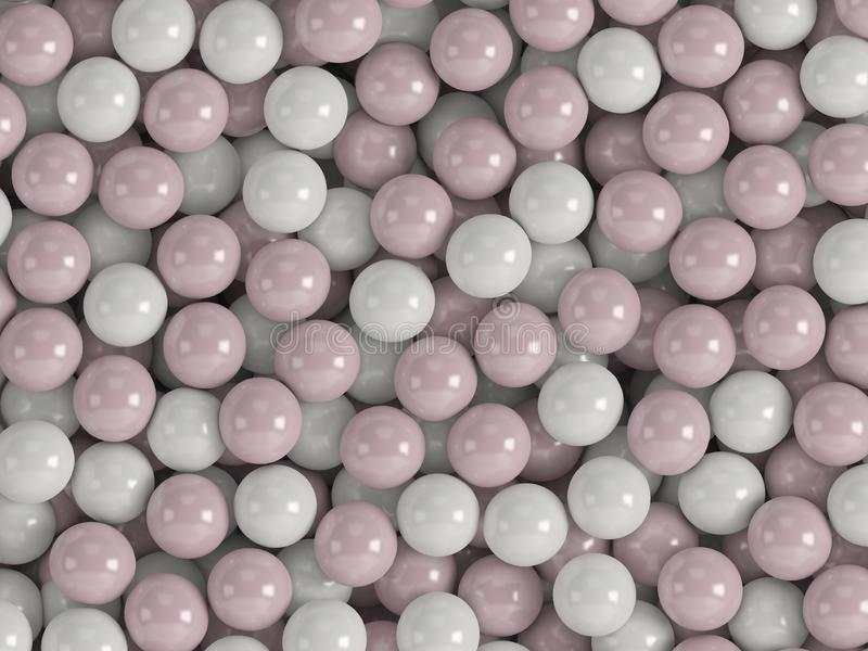 3d white pink background with balls stock illustration