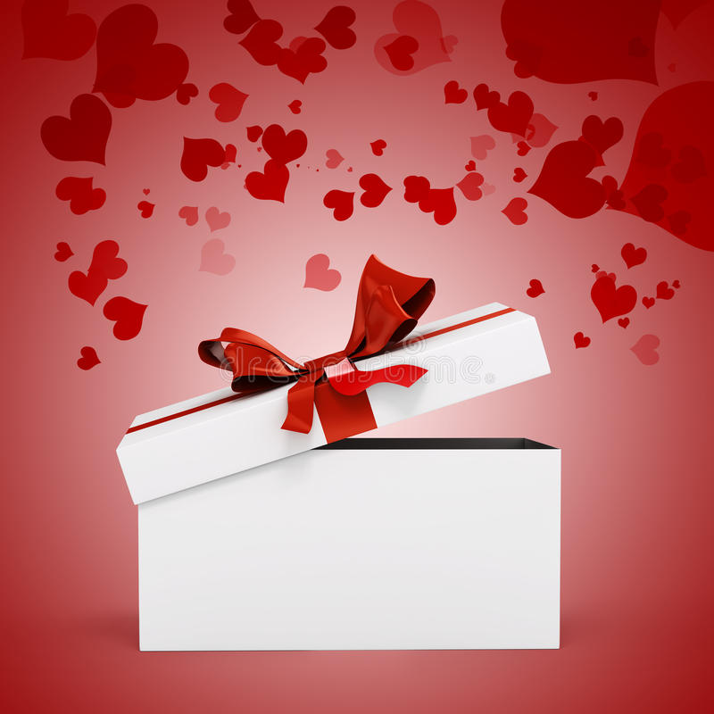 3d white present box and big bow royalty free illustration