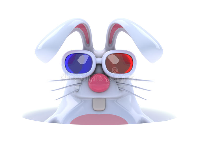 3d White rabbit in a hole