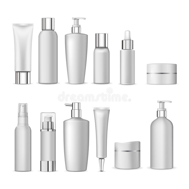 3d white realistic cosmetic package icon set empty tubes on white background vector illustration royalty free illustration