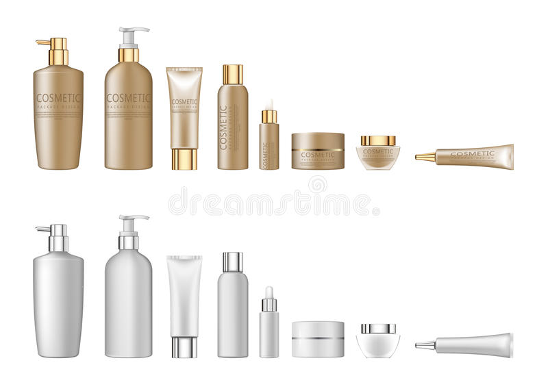 3d white realistic cosmetic package set empty tubes on white background vector illustration. Set realistic package for cosmetic product. Collection of white stock illustration