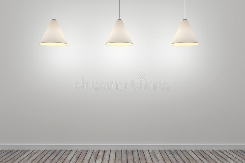 3d white room with three ceiling lamps.  royalty free illustration