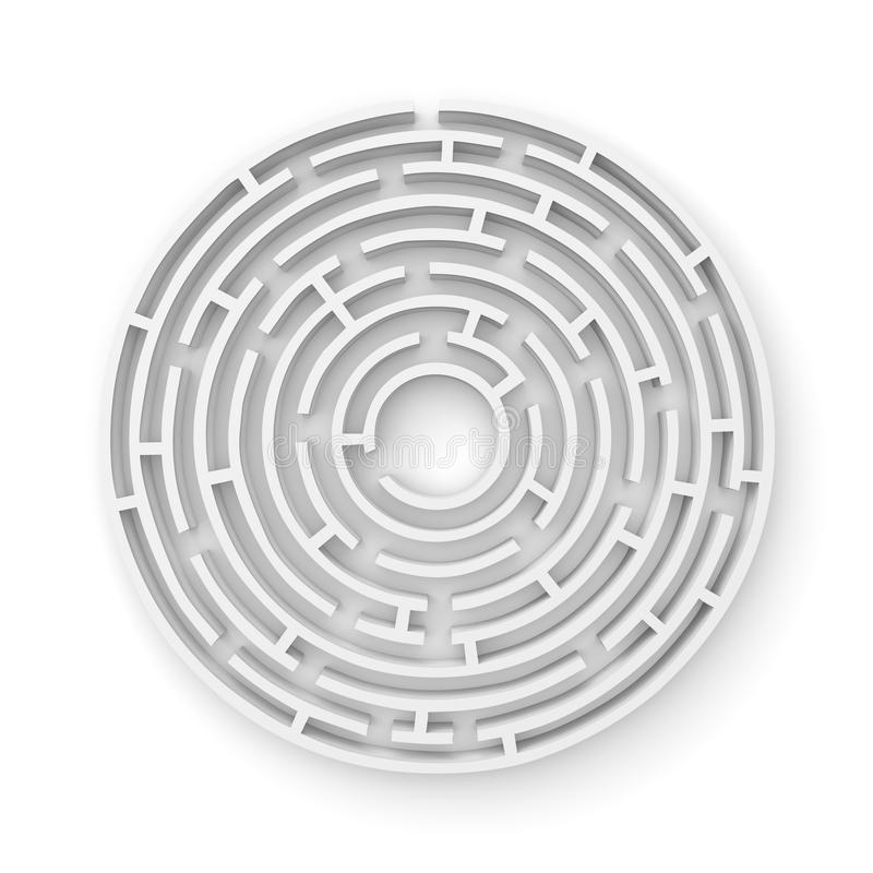 3D white round maze consruction isolated on white background royalty free illustration