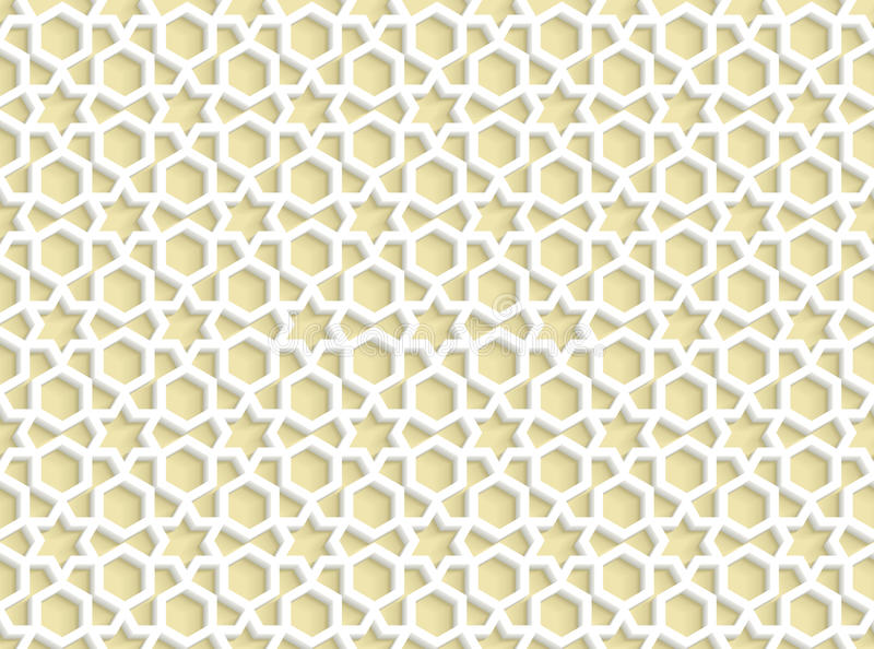3d white seamless pattern in arabic style stock illustration