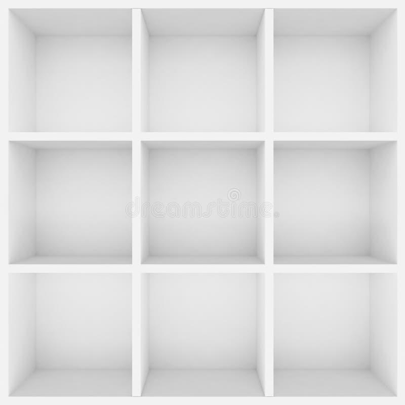 3d white shelves for show case. 3d vector illustration