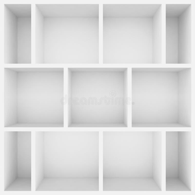 3d white shelves for show case. 3d stock illustration