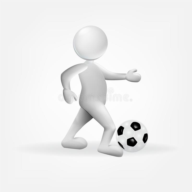 3D white small people with a soccer ball icon logo vector illustration