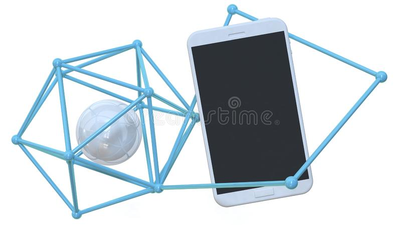 White smart phone black display with sphere and abstract line technology network concept 3d rendering. 3d white smart phone black display with sphere and royalty free illustration