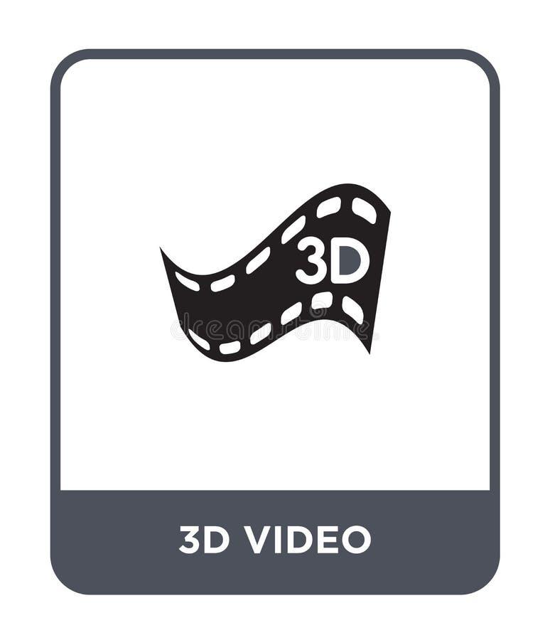 3d wideo ikona w modnym projekta stylu 3d wideo ikona odizolowywająca na białym tle 3d wideo wektorowej ikony prosty i nowożytny  royalty ilustracja