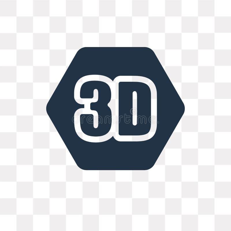 3D Wideo wektorowa ikona odizolowywająca na przejrzystym tle, 3D Vide ilustracja wektor