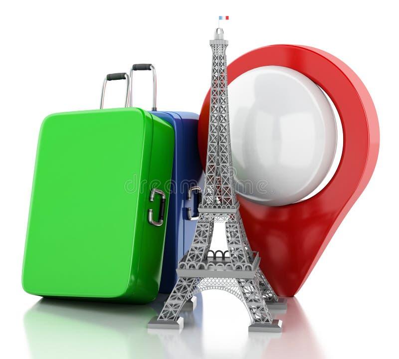 3d wieża eifla, podróż Paris pojęcie royalty ilustracja