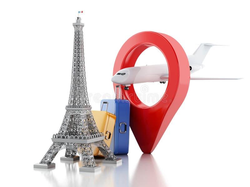 3d wieża eifla, podróż Paris pojęcie ilustracji