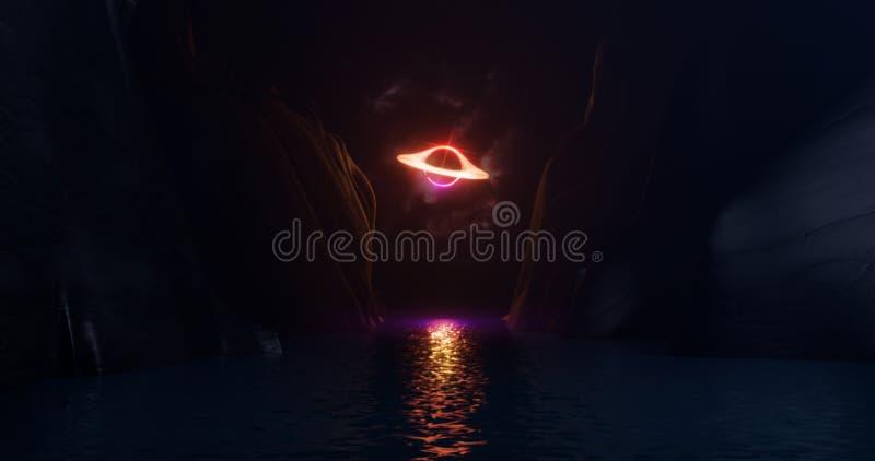 3D Wiedergabe, abstrakter Hintergrund, Raumlandschaft, schwarzes Loch im Himmel gegen einen Hintergrund von Felsen, Neonlicht, En lizenzfreie abbildung