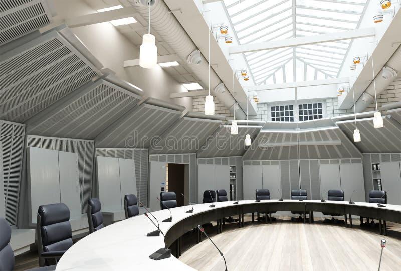 3d Wiedergabe der Innenarchitektur des neuen Büros - Konferenzsaal lizenzfreie abbildung