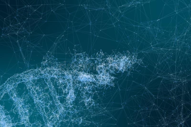 3d Wiedergabe, DNA mit emanative Linien Hintergrund stock abbildung