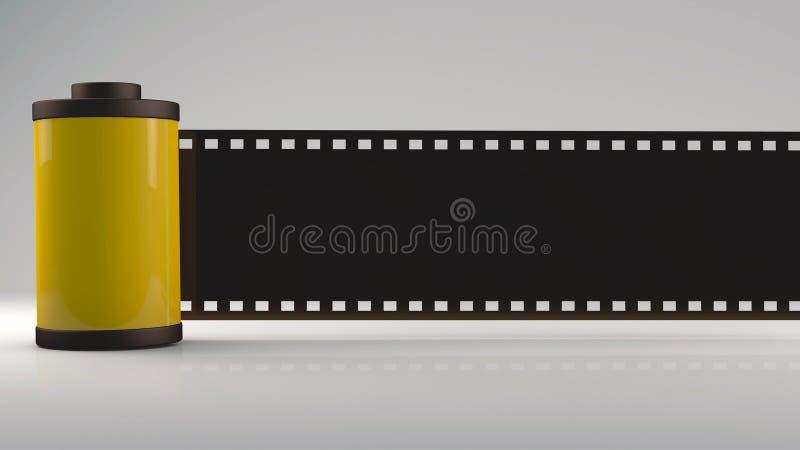 3D Wiedergabe, gelber Filmstreifen lizenzfreie abbildung