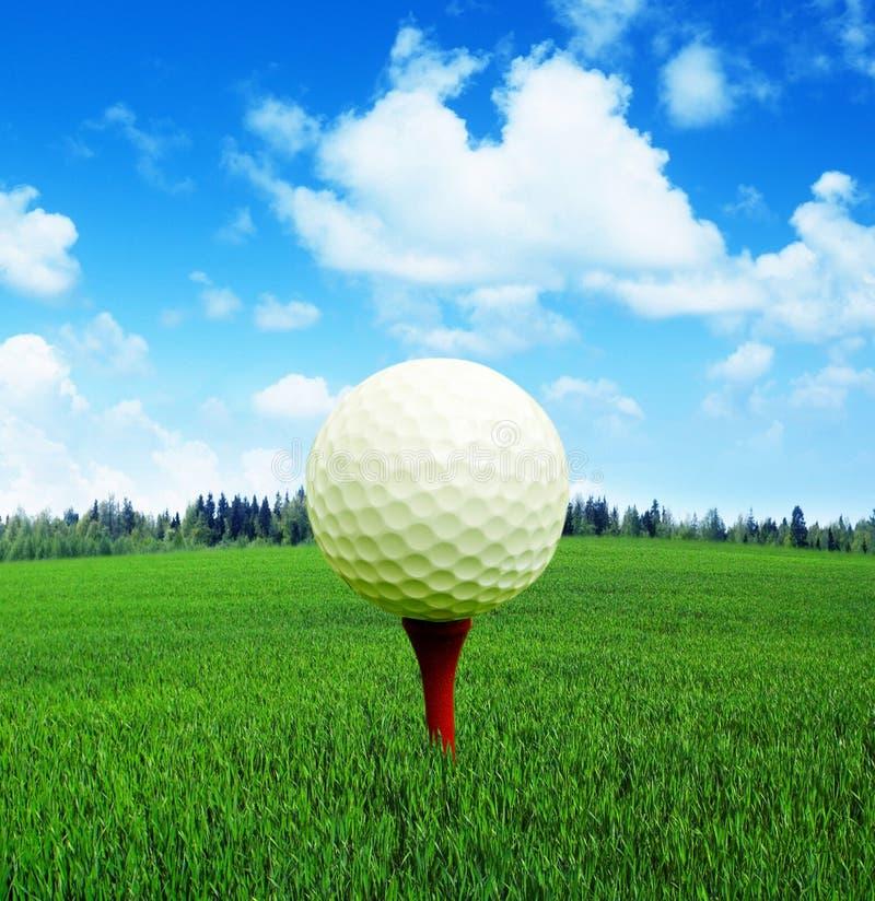 3D Wiedergabe, Golfball im Feuer, stockfotografie