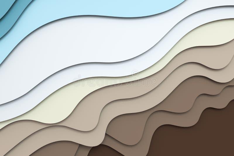3d Wiedergabe, mehrschichtiger Papierschnitt-Illustrationshintergrund stock abbildung