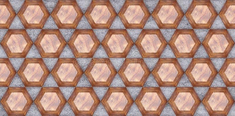 3D Wiedergabe von hölzernen HexagonWänden, materielle hölzerne Eiche auf grauem Beton für Ihre dekorative Fliese des Projektes od stock abbildung