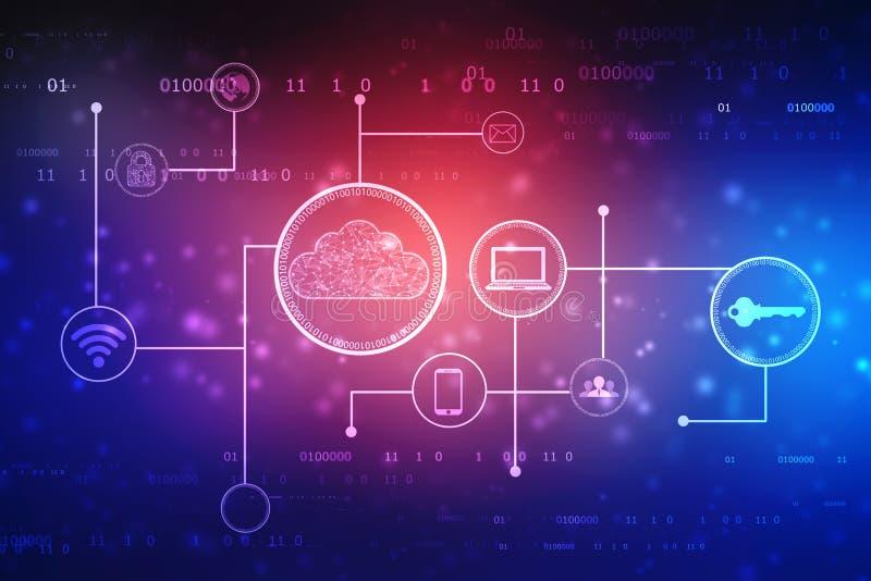 2d Wiedergaberechnende wolke, Cloud Computing-Konzept, Technologie concce lizenzfreie abbildung