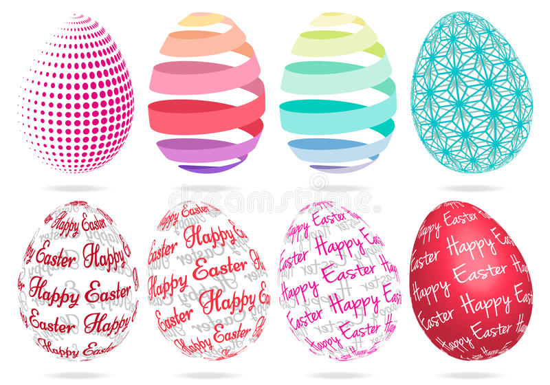 3D Wielkanocni jajka, wektoru set ilustracji