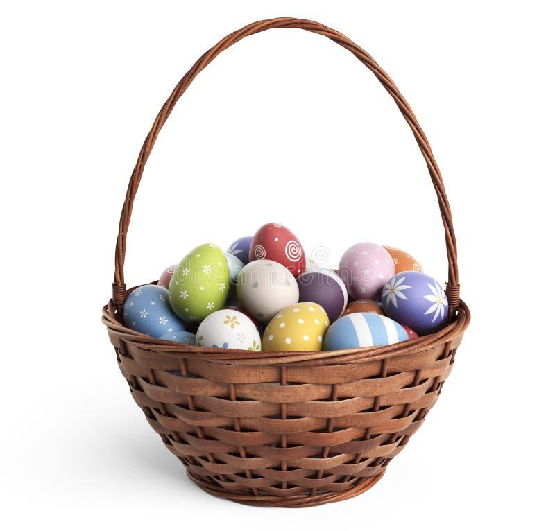3D Wielkanocny kosz wypełniający z kolorowymi jajkami odosobniony zdjęcie stock