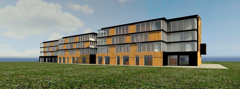 3D wielopiętrowego domu Nowożytny wielopiętrowy domowy projekt - istny 3D ilustracja wektor