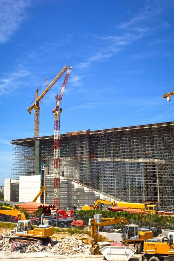 Download Dźwigów Budowlanych Miejsce Zdjęcie Stock - Obraz złożonej z grecja, budowniczowie: 53791798