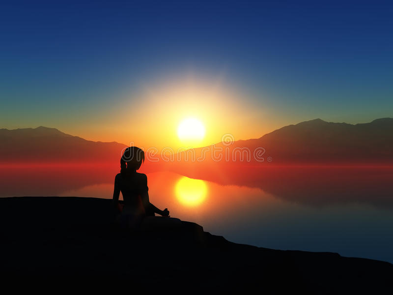 3D wijfje in yoga stelt tegen een zonsonderganghemel vector illustratie