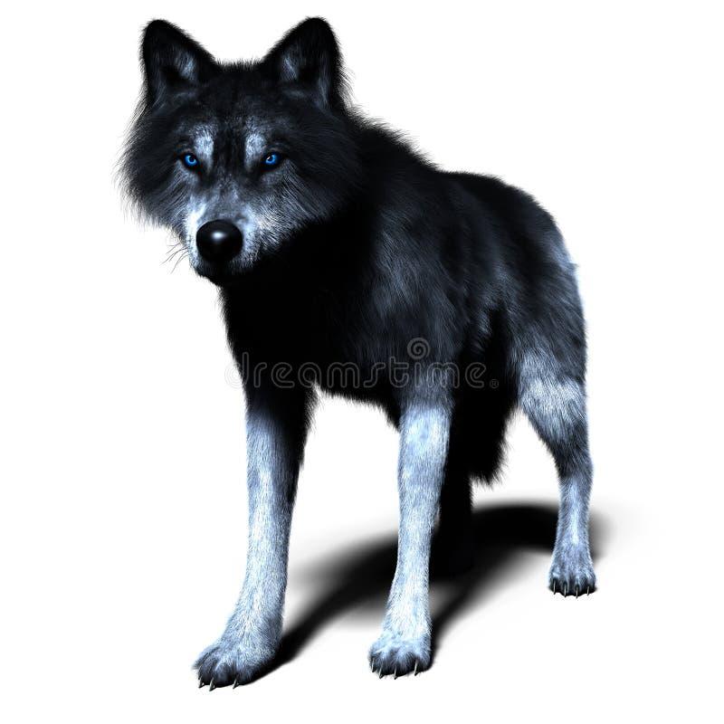 3D wilk w pozyci pozie royalty ilustracja