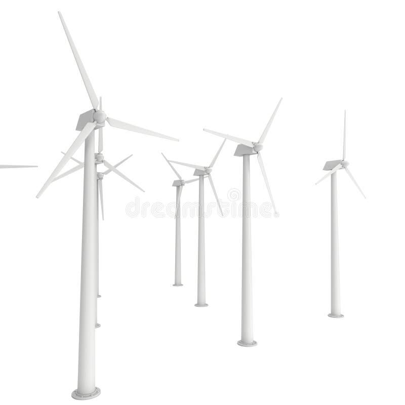 3d wind de turbine geeft terug vector illustratie
