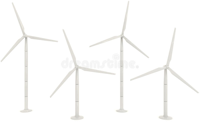 3D wind turbine for clean energy collection set in white background stock illustration