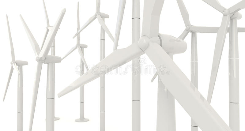 3D wind turbine for clean energy in white background in side angle stock illustration