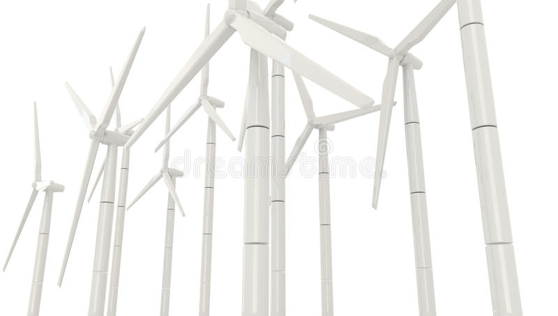 3D wind turbine for clean energy in white background in side angle royalty free illustration