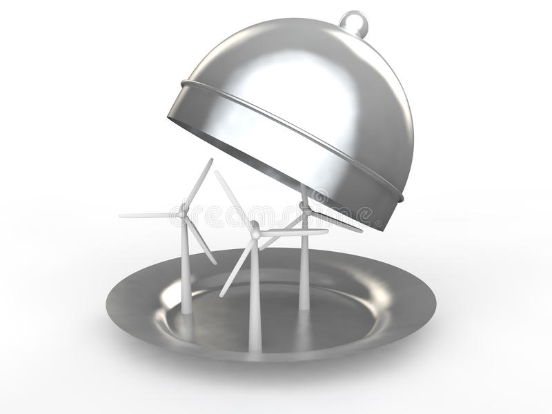 3d wind turbines in a dish stock image