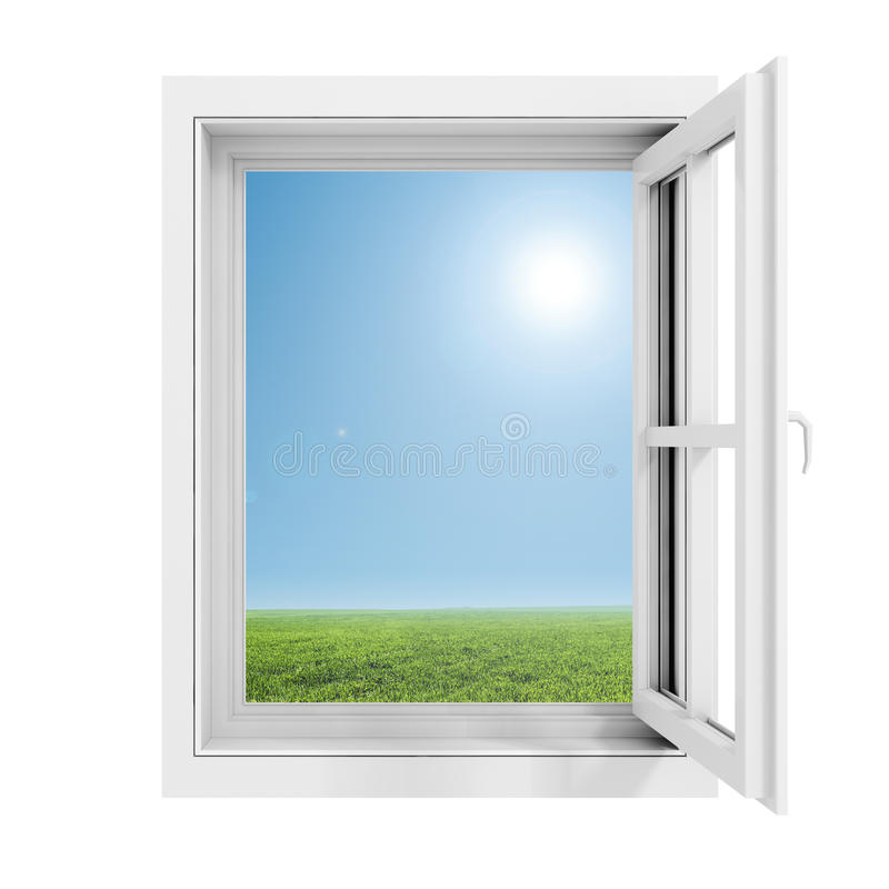 3d window frame with blue sky background royalty free illustration