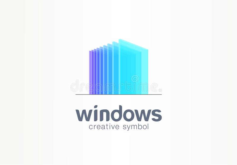 3d windows, glass creative symbol concept. Construction, architecture, real estate, abstract business logo idea. Home vector illustration