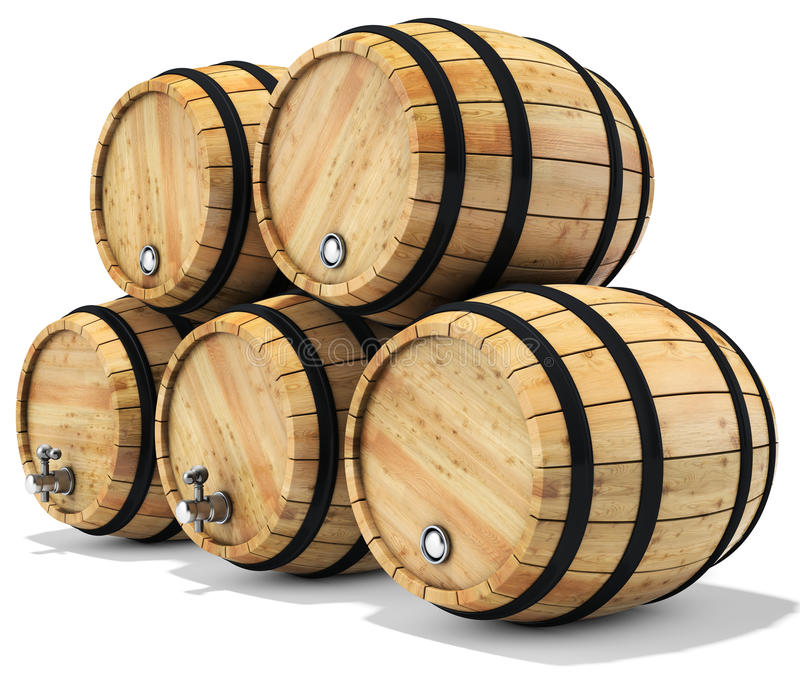 3d wine barrel stack. On white background 3D illustration royalty free illustration