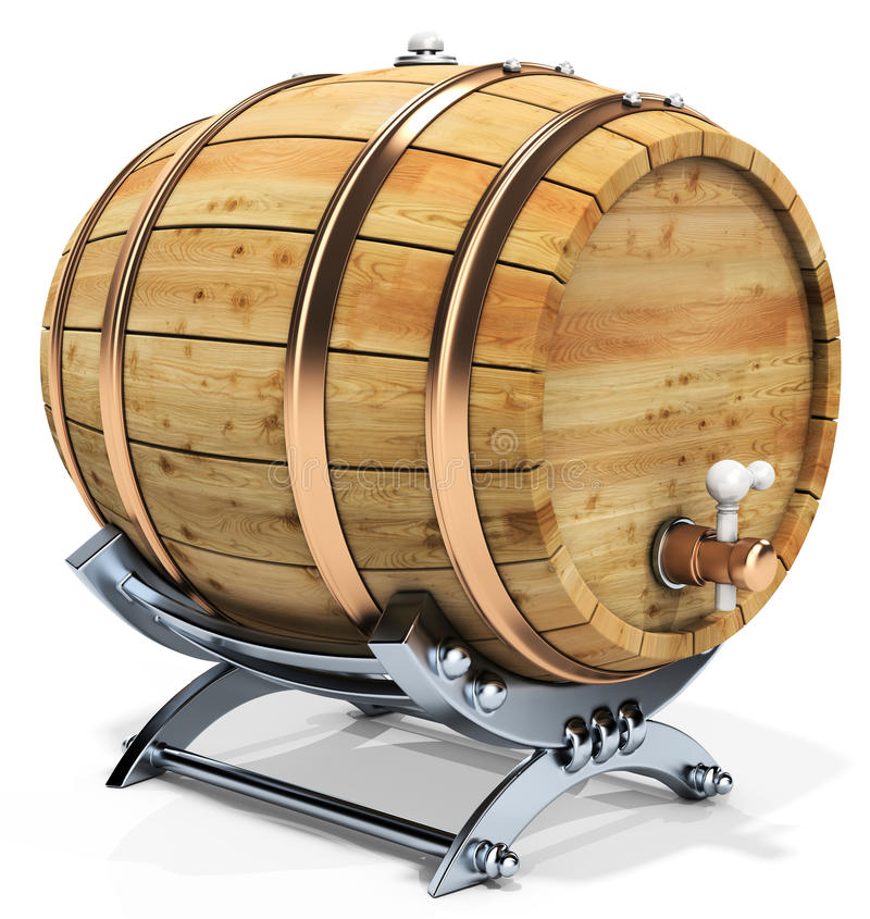 3d wine barrel with stand. On the white background 3D illustration royalty free illustration