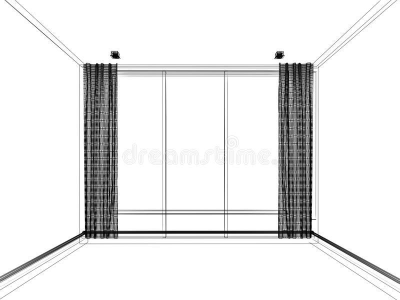 3d wire frame of empty room. Abstract sketch royalty free illustration