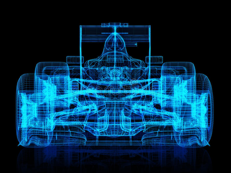 3d wire frame front view of a race car on a black background. royalty free illustration