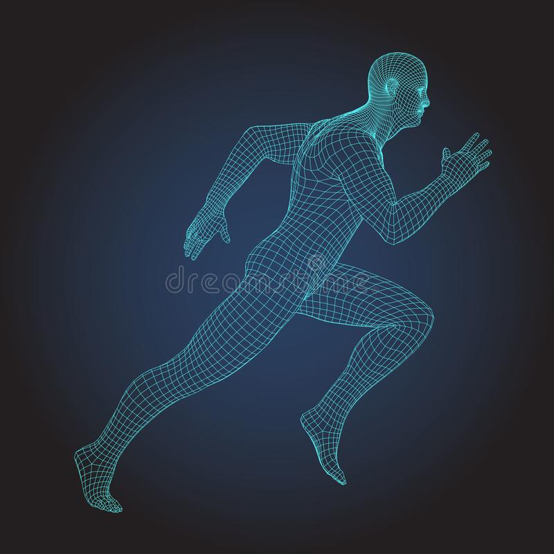 3D wire frame human body. Sprinter Running figure stock illustration