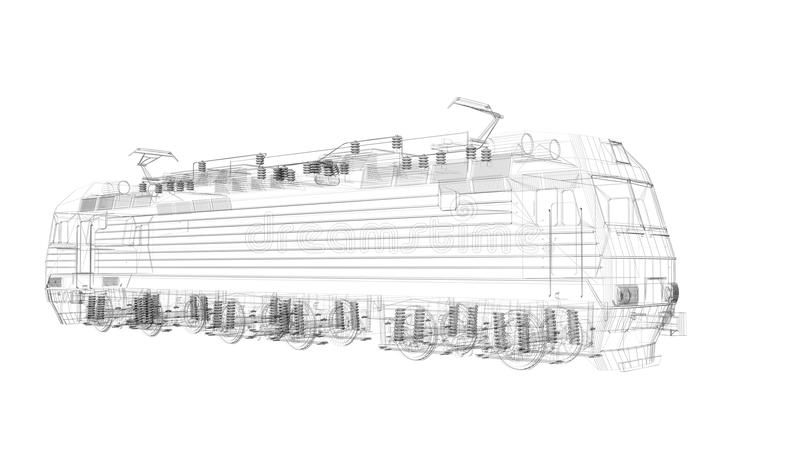 3d  Wire Frame Locomotive Model Royalty Free Stock Photos