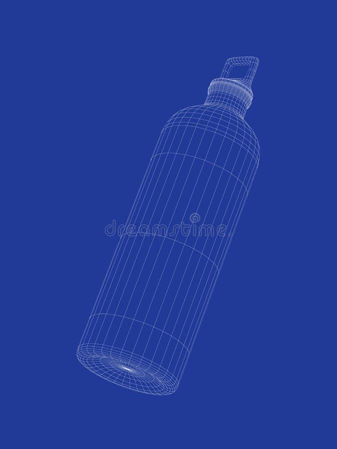 3d sport water bottle. 3d wire-frame model of sport water bottle stock illustration