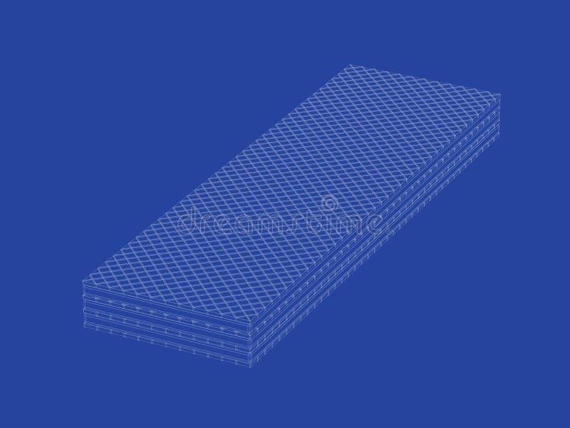 3d model of sweet wafer. 3d wire-frame model of sweet wafer vector illustration
