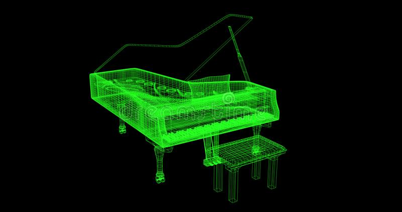 3D wire-frame of a piano. A green wire-frame of a piano with a black background. High quality rendered vector illustration